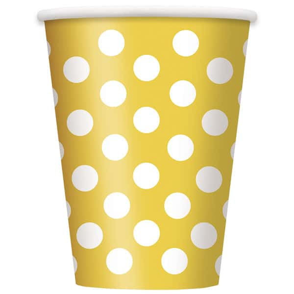 Sunflower Yellow Decorative Dots Paper Cups 354ml - Pack of 6