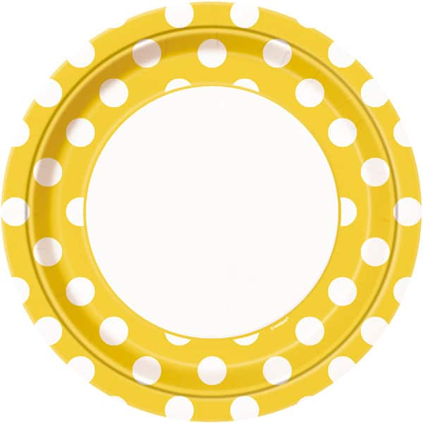 Sunflower Yellow Decorative Dots Paper Plates 22cm - Pack of 8