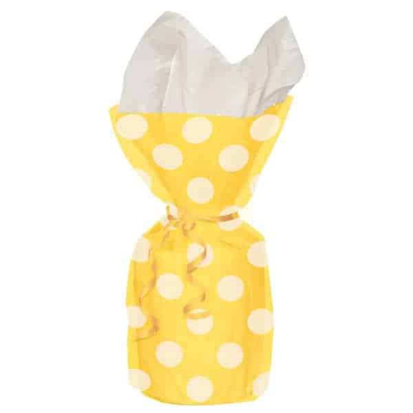 Sunflower Yellow Decorative Dots Gift Bags - Pack of 20