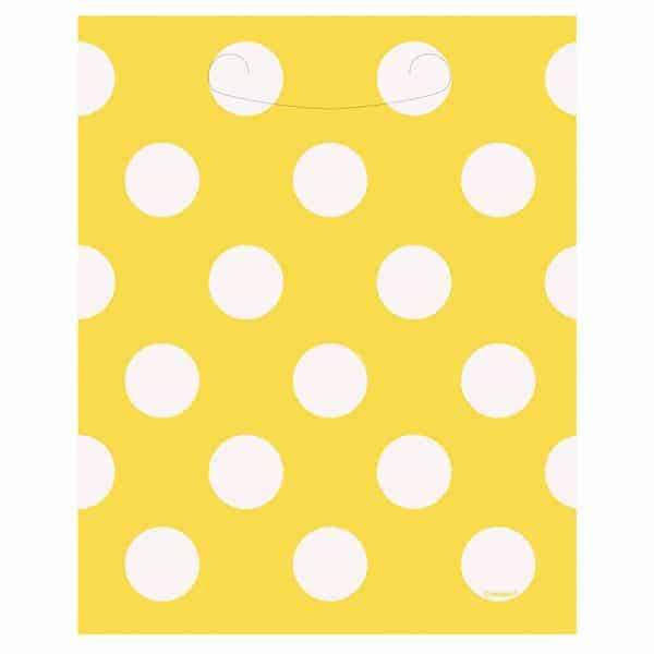 Sunflower Yellow Decorative Dots Loot Bags - Pack of 8