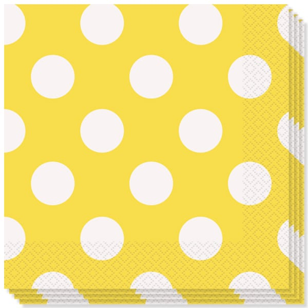 Sunflower Yellow Decorative Dots 2 Ply Luncheon Napkins - 13 Inches / 33cm - Pack of 16