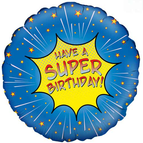 Super Birthday Blue Round Foil Helium Balloon 46cm / 18 in Product Image