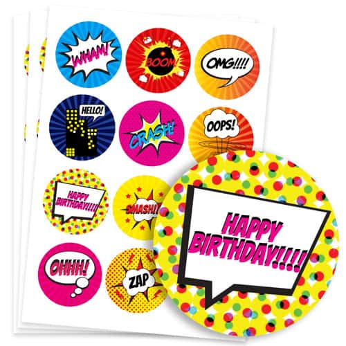 Super Hero 60mm Round Sticker Sheet of 12 Product Image