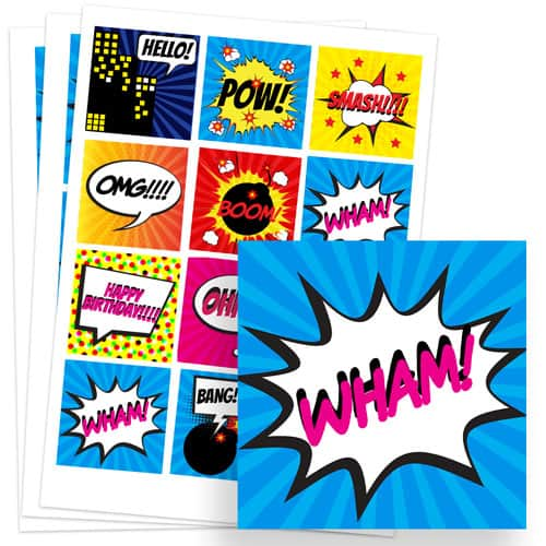 Super Hero 65mm Square Sticker Sheet of 12 Product Image