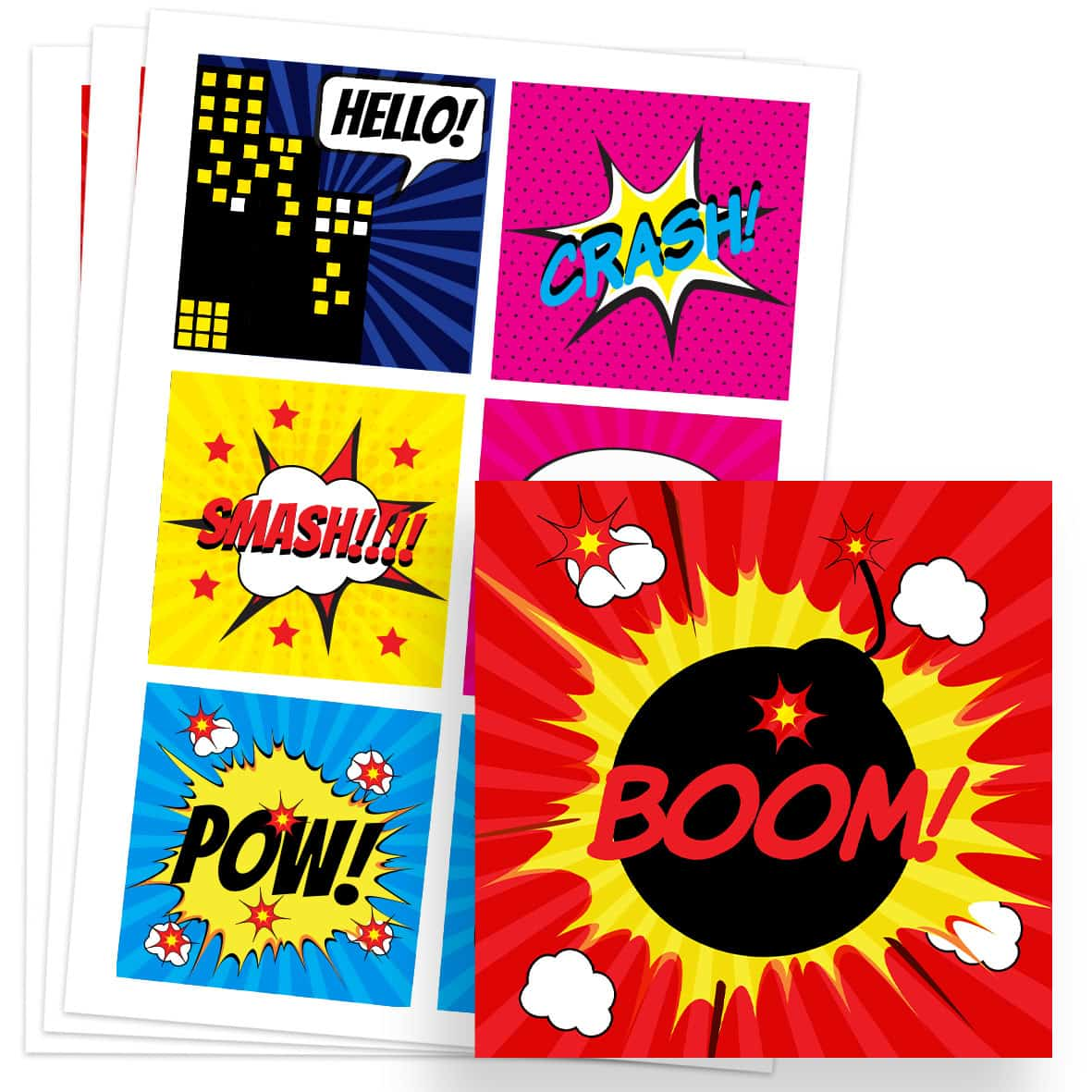 Super Hero 80mm Square Sticker Sheet of 6 Product Image
