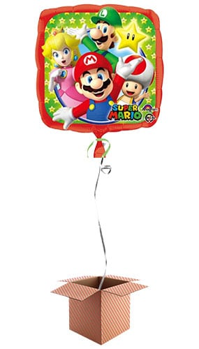 Super Mario Square Foil Balloon - Inflated Balloon in a Box Product Image