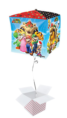 Super Mario Cubez Foil Helium Balloon - Inflated Balloon in a Box Product Gallery Image