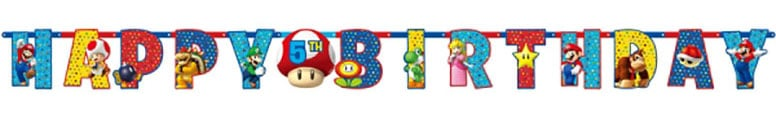 Super Mario Jointed Letter Banner - 320cm Product Image