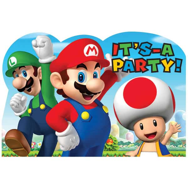 Super Mario Party Invitations With Envelopes - Pack of 8