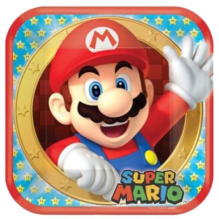 Super Mario Square Paper Plates 23cm - Pack of 8