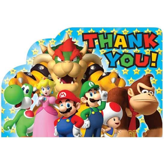 Super Mario Thank You Cards - Pack of 8