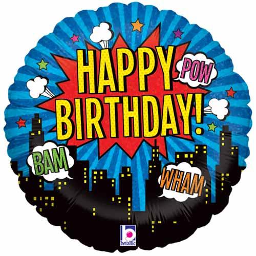 Superhero Birthday Holographic Round Foil Helium Balloon 46cm / 18 in Product Image