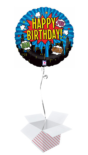 Superhero Birthday Holographic Round Foil Helium Balloon - Inflated Balloon in a Box