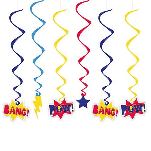Superhero Hanging Swirl Decorations - Pack of 6