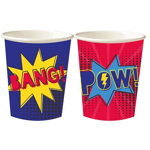Superhero Paper Cups 250ml - Pack of 8