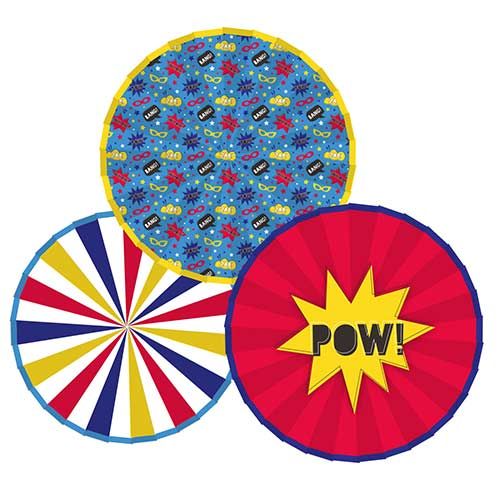 Superhero Paper Fans Hanging Decorations - Pack of 3
