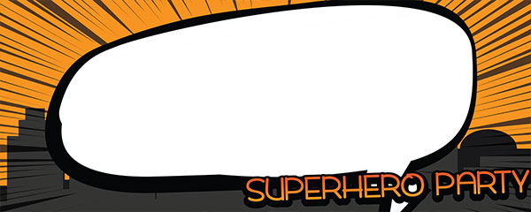 Superhero Party Black And Orange Design Small Personalised Banner - 4ft x 2ft