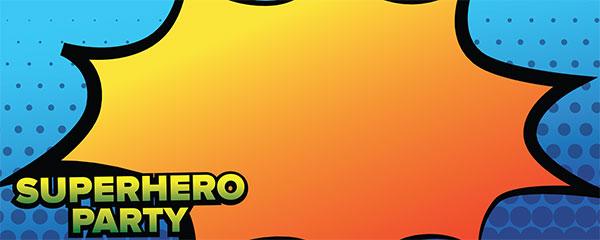Superhero Party Blue Design Medium Personalised Banner - 6ft x 2.25ft