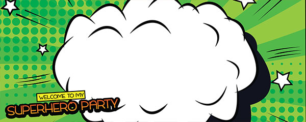 Superhero Party Green Design Small Personalised Banner - 4ft x 2ft