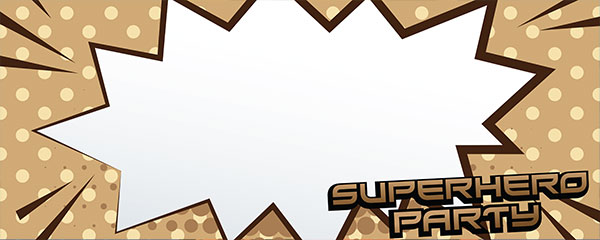 Superhero Party Light Brown Design Large Personalised Banner - 10ft x 4ft