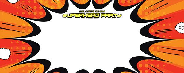 Superhero Party Red And Orange Design Medium Personalised Banner - 6ft x 2.25ft