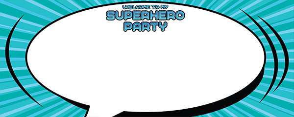 Superhero Party Turquoise Design Large Personalised Banner - 10ft x 4ft