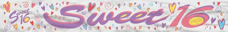 Sweet 16 Foil Banner - 12 Ft / 366cm