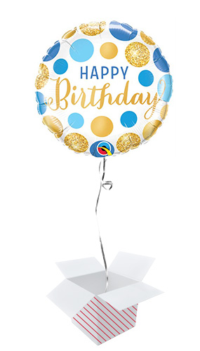 Birthday Blue & Gold Dots Round Foil Helium Qualatex Balloon - Inflated Balloon in a Box Product Image