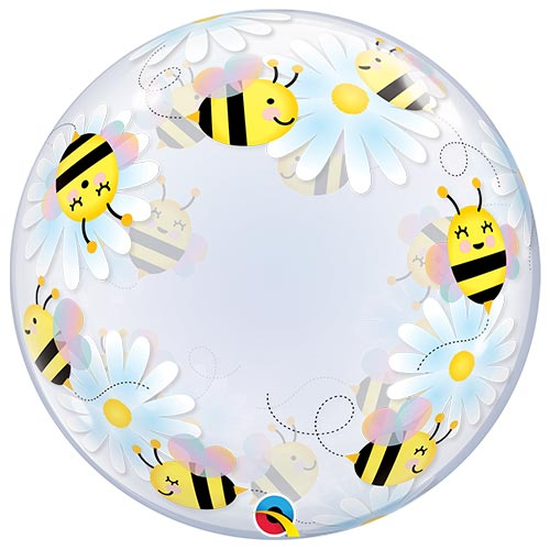 Sweet Bees & Daisies Deco Bubble Helium Qualatex Balloon 61cm / 24 in Product Image