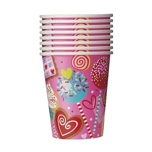 Sweet Valentine Paper Cups 270ml - Pack of 8 Product Image