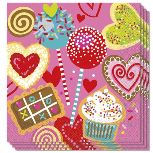 Sweet Valentine Luncheon Napkins 33cm 2ply - Pack of 16