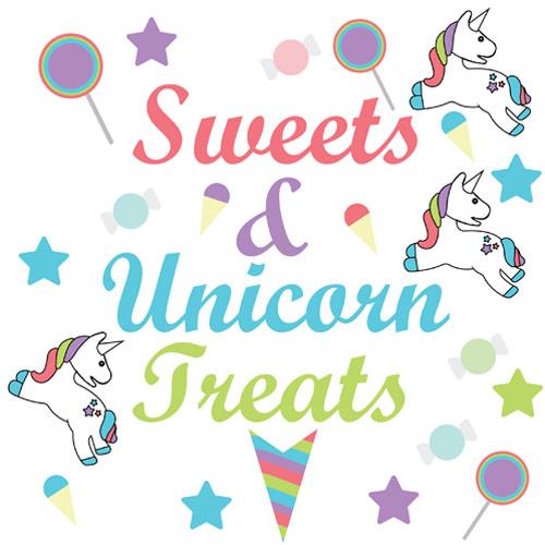 Sweets And Unicorn Treats PVC Party Sign Decoration 20cm x 20cm