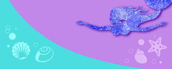 Swimming Mermaid Design Small Personalised Banner - 4ft x 2ft