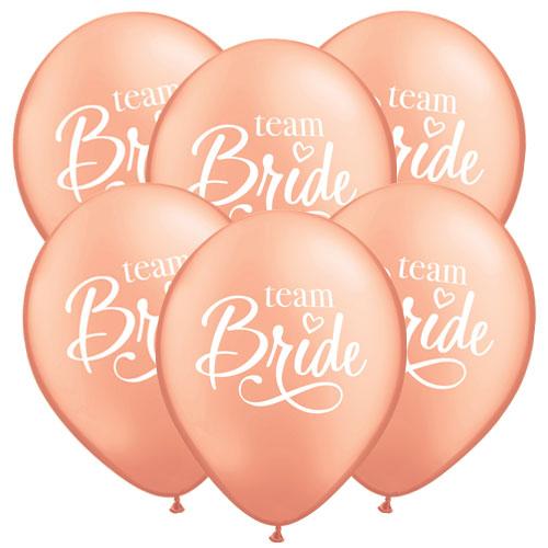 Team Bride Rose Gold Latex Helium Qualatex Balloons 28cm / 11 Inch - Pack of 6