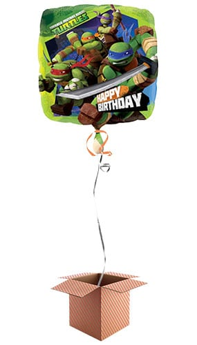 Teenage Mutant Ninja Turtles Happy Birthday Square Foil Balloon - Inflated Balloon in a Box Product Image