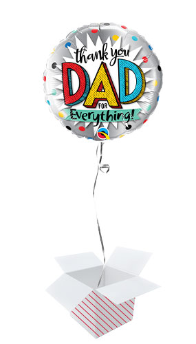 Thank You Dad Father's Day Round Foil Helium Qualatex Balloon - Inflated Balloon in a Box