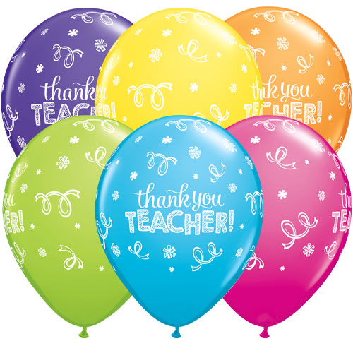 Thank You Teacher Assorted Latex Helium Qualatex Balloons 28cm / 11 in - Pack of 10
