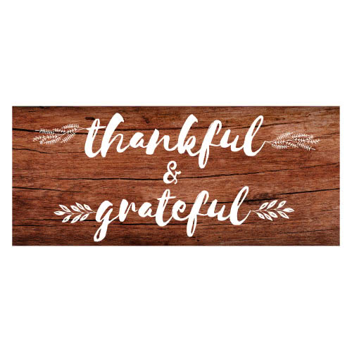 Thankful And Grateful Thanksgiving Day Wooden Effect PVC Party Sign Decoration 60cm x 25cm