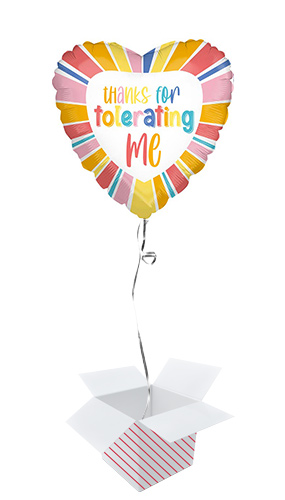 Thanks For Tolerating Me Heart Foil Helium Balloon - Inflated Balloon in a Box Product Image