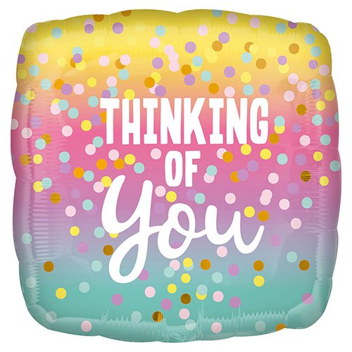 Thinking of You Dots Square Foil Helium Balloon 43cm / 17 in Product Image