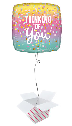 Thinking of You Dots Square Foil Helium Balloon - Inflated Balloon in a Box Product Image