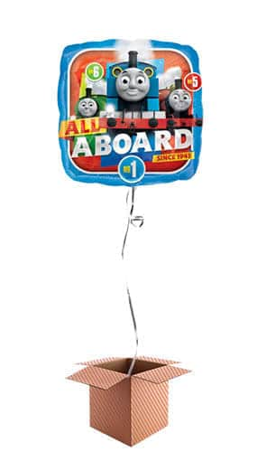 Thomas And Friends Happy Birthday Square Foil Helium Balloon - Inflated Balloon in a Box Product Image
