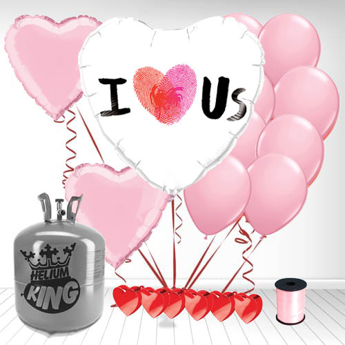 Thumbprint I Heart Us Valentine's Day Small Helium Gas Package With Balloons Product Image