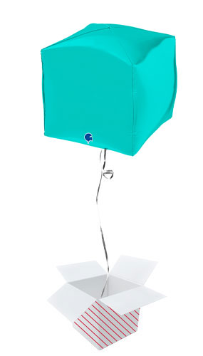 Tiffany Blue 4D Square Shape Foil Helium Balloon - Inflated Balloon in a Box