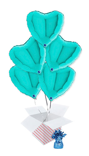 Tiffany Blue Heart Shape Foil Helium Balloon Bouquet - 5 Inflated Balloons In A Box