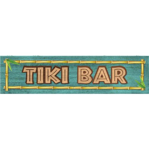Tiki Bar Bamboo PVC Party Sign Decoration 60cm x 15cm Product Image