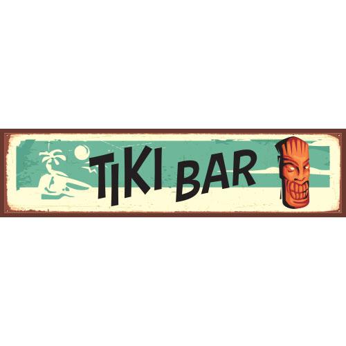 Tiki Bar Beach PVC Party Sign Decoration 60cm x 15cm Product Image