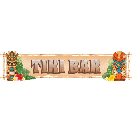 Tiki Bar Masks PVC Party Sign Decoration 110cm x 26cm Product Image