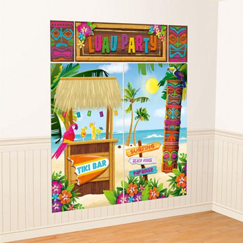 Hawaii Luau Party Wall Backdrop Scene Setter Decorating Kit Product Image