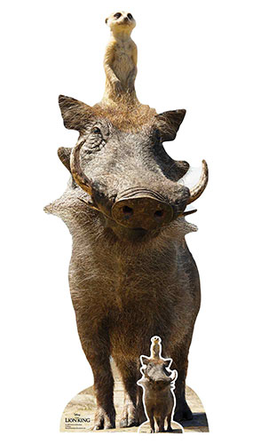 Timon and Pumbaa Lion King Live Action Lifesize Cardboard Cutout 162cm Product Image